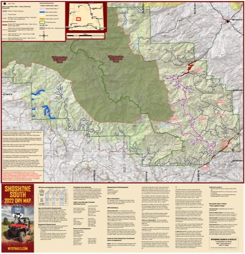 Map of Shoshone South Off-Road Vehicle Trails (ORV) in Wyoming. Published by Wyoming State Parks, Historic Sites, & Trails (WYSP).