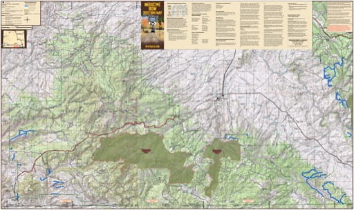 Map of Sierra Range Off-Road Vehicle Trails (ORV) in Medicine Bow-Routt National Forest (NF) in Wyoming. Published by Wyoming State Parks, Historic Sites, & Trails (WYSP).