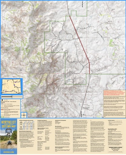 Northeast Map showing Weston Hills Off-Road Vehicle Trails (ORV) in Wyoming. Published by Wyoming State Parks, Historic Sites, & Trails (WYSP).