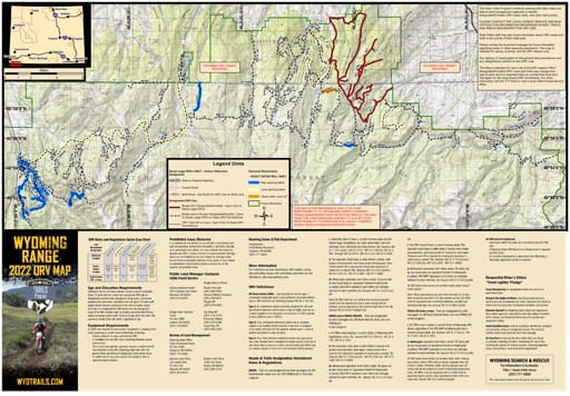 Map of Wyoming Range / Unita Off-Road Vehicle Trails (ORV) in Wyoming. Published by Wyoming State Parks, Historic Sites, & Trails (WYSP).