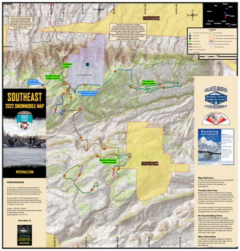 Map of Casper Mountain Snowmobile Trails near Casper, Wyoming. Published by Wyoming State Parks, Historic Sites, & Trails (WYSP).