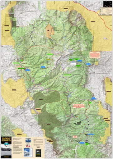 Map of Snowy Range Snowmobile Trails in Medicine Bow-Routt National Forest (NF) in Wyoming. Published by Wyoming State Parks, Historic Sites, & Trails (WYSP).
