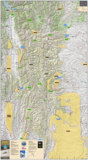 Map of Wyoming Range Snowmobile Trails in Wyoming. Published by Wyoming State Parks, Historic Sites, & Trails (WYSP).