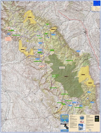 Map of Bighorn Snowmobile Trails in Wyoming. Published by Wyoming State Parks, Historic Sites, & Trails (WYSP).