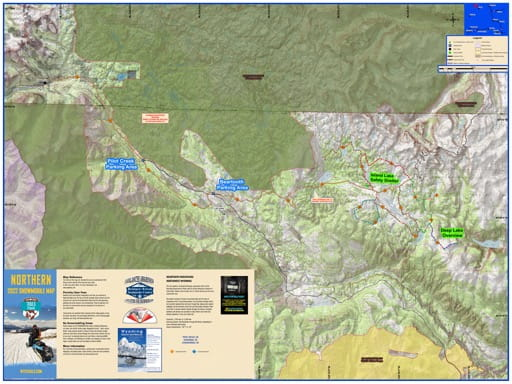 Map of Snowmobile Trails in Beartooth Mountains in northwest Wyoming. Published by Wyoming State Parks, Historic Sites, & Trails (WYSP).