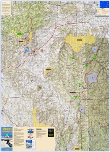 Map of Snowmobile Trails in Black Hills and Bear Lodge Mountains in northeast Wyoming. Published by Wyoming State Parks, Historic Sites, & Trails (WYSP).