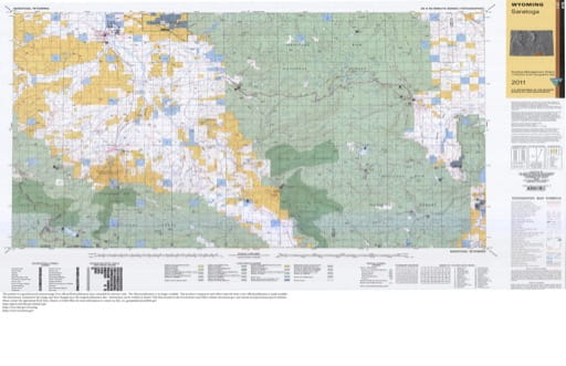 Map of Surface Management Status / 1:100,000-Scale Topographic Map of Saratoga in Wyoming. Published by the Bureau of Land Management (BLM).