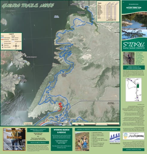 Map of the northern part of the Trail System at Glendo State Park (SP) at Glendo Reservoir on the North Platte River in Wyoming. Published by Wyoming State Parks.