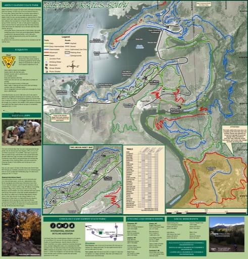 Map of the southern part of the Trail System at Glendo State Park (SP) at Glendo Reservoir on the North Platte River in Wyoming. Published by Wyoming State Parks.