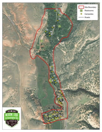 Visitor Map of Medicine Lodge State Archelological Site (SAS) in Wyoming. Published by Wyoming State Parks.