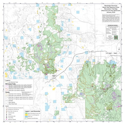 Motorized and Non-Motorized Recreation Trail Map of Bearlodge in Black Hills National Forest (NF). Published by the U.S. Forest Service (USFS).
