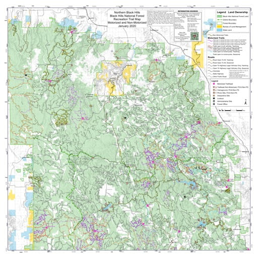 Motorized and Non-Motorized Recreation Trail Map of Northern Hills in Black Hills National Forest (NF). Published by the U.S. Forest Service (USFS).