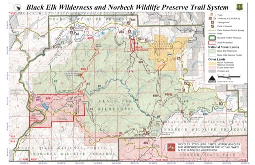 Map of Black Elk Wilderness and Norbeck Wildlife Preserve Trail System. Published by the U.S. Forest Service (USFS).
