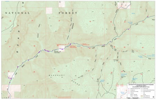 Map of Left Hand Fork Designated Dispersed Campsites in Logan Ranger District of Uinta-Wasatch-Cache National Forest (NF) in Utah. Published by the U.S. Forest Service (USFS)