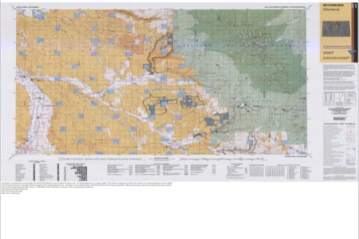 Map of Surface Management Status / 1:100,000-Scale Topographic Map of Worland in Wyoming. Published by the Bureau of Land Management (BLM).